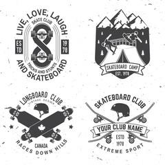 Set of Skateboard and longboard club badges. Vector illustration