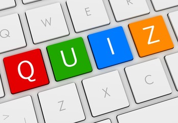 quiz keyboard button 3d illustration isolated