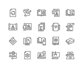 Simple Set of Technical Documentation Related Vector Line Icons. Contains such Icons as Plan, Blueprint, Manual and more. Editable Stroke. 48x48 Pixel Perfect.