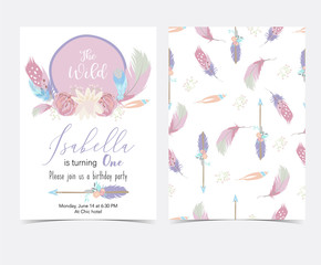 Pink,violet hand drawn cute card with feather and arrow