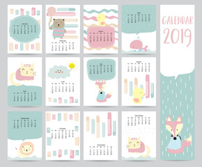 Cute monthly calendar 2019 with bear,cat,fox,whale,cat and lion for children.Can be used for web,banner,poster,label and printable