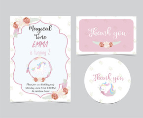 Pink hand drawn cute card with unicorn,wreath and flower.Thank you