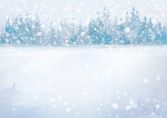 Vector winter snowfall  landscape with forest background.