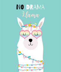Blue green hand drawn cute card with llama,heart glasses in summer.No drama llama