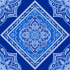 Floral indian paisley pattern vector seamless border. Vintage flower ethnic ornament persian rug fabric. Oriental folk design for boho blanket, bohemian pillow, yoga wallpaper, bandana scarf print.