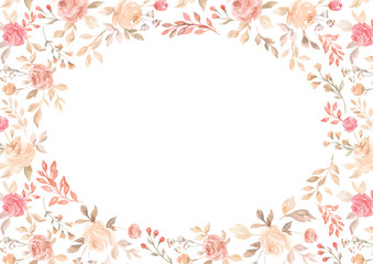 Vector watercolor pink flower, plant border white paper background