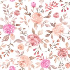 Pastel vector seamless flower pattern backdrop background