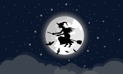 Witches ride the broom through the big moon, the clouds are below In the night with a star full of blue Halloween Holidays