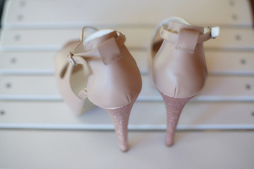 View from the back of an elegant high heel peep toe pumps shoes, with stiletto heel and ankle strap fastening, women footwear for formal occasion or for an evening look
