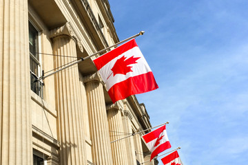 Canadian flags on a building against a blue sky Fototapete