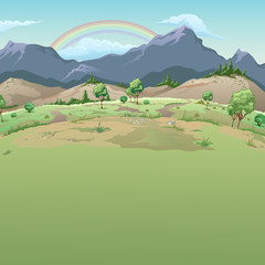 Rainbow in the mountains. The sample cards on good weather with space for your text. Vector illustration.