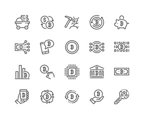 Simple Set of Bitcoin Related Vector Line Icons. 