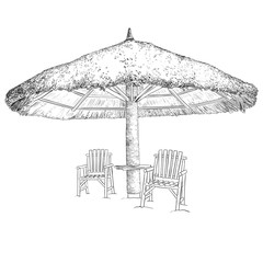 Sketch of parasol and chairs. Black and white vector illustration