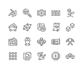 Simple Set of Blockchain Related Vector Line Icons.  Contains such Icons as Mining, Smart Contract, Electronic Key and more. Editable Stroke. 48x48 Pixel Perfect.