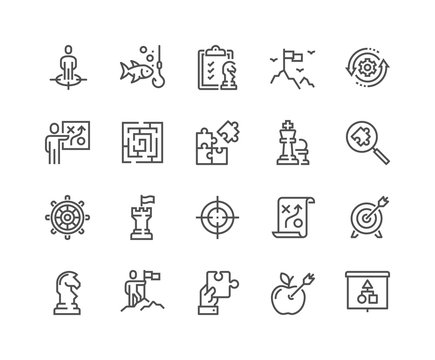 Simple Set of Business Strategy Related Vector Line Icons. 