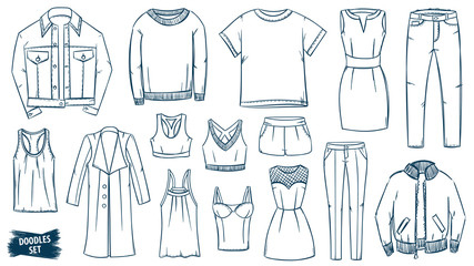 Clothes doodles set. Fashion sketch. Apparel. Outfit. Fashion collection. Casual style. Travel luggage. Jeans wear. Dress. Coat. Jacket. Leggins. Sweater. T-shirt.