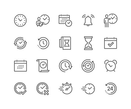 Simple Set of Time Related Vector Line Icons. 