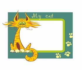 Photo frame. My cat. Inscription. Funny cartoon red cat. Vector illustration.