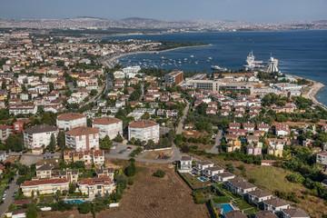 Tuzla, İstanbul, Türkiye - 25 Ağustos 2013; Tuzla beach, ITU Faculty of Maritime Navigation Tower - Tuzla, Istanbul.