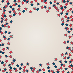 United States Independence Day 4th of July or Memorial Day background.  Retro vector illustration in colors of American flag. Frame of confetti stars with space for text.