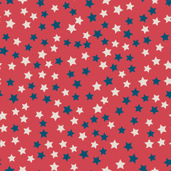 Scattered stars seamless pattern in colors of American flag: red, blue and white. United States Independence Day 4th of July or Memorial Day. Retro patriotic vector illustration.