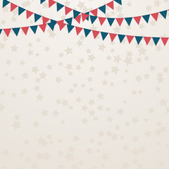 July 4th Independence Day Party.  Flags and scattered stars confetti background. Retro patriotic vector illustration in colors of American flag. Easy to edit banner template.