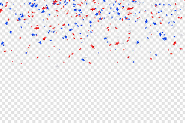 Vector realistic isolated stars confetti for 4th of July for decoration and covering on the transparent background. Concept of Happy Independence Day in USA.