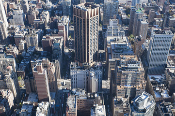 Highly developed Downtown Manhattan towards the East River Side, aerial views from Empire State Building, close-up on roads structure and skyscrapers, and urban density, New York City, USA