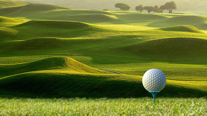 3d rendering of nice view of golf ball on the holder with golf field