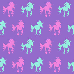 Purple unicorn silhouette seamless pattern