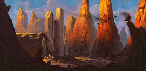 Fotorolgordijn Chocoladebruin Ruined fortress in a rocky desert being overrun by a dangerous evil character - digital fantasy painting