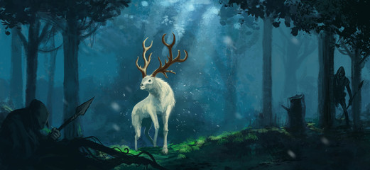 Fantasy elk creature hunted by evil goblin creatures in a magical forest  - Digital fantasy painting Wall mural