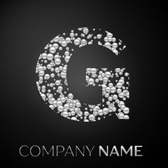 Letter G logo silver dots. Alphabet logotype with abstract silver bubbles shape on black background. Vector template for your design