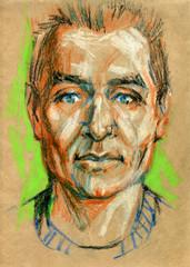 Portrait of a man, pastel illustration on craft paper