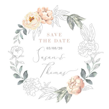 Blush pink peony flowers and gray leaves wreath. Wedding frame with graphic elements. Vector illustration. Floral bouquet. Design greeting card. Invitation background. Save the date template