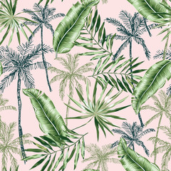 Green banana, palm trees, leaves with blush pink background. Vector seamless pattern. Tropical jungle foliage illustration. Exotic plants greenery. Summer beach floral design. Paradise nature graphic