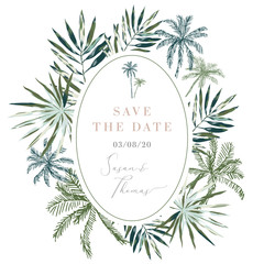 Tropical palm leaves and trees oval frame background. Wedding invitation design template. Vector illustration. Summer beach floral design for the card, poster, tee shirt. Paradise nature. Greenery