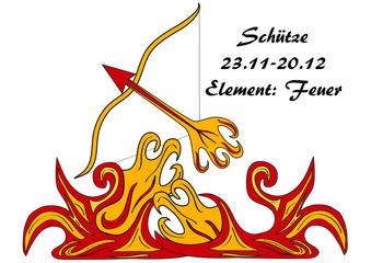 Sternzeichen Schütze mit deutschen Text: Schütze, Datum, Element: Feuer, vektorgrafik eps10