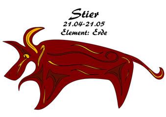 Sternzeichen Stier mit deutschen Text: Stier, Datum, Element: Erde, vektorgrafik eps10