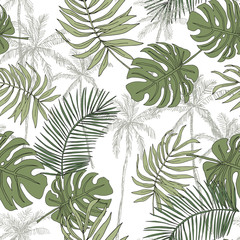 Green palm trees, banana leaves with white background. Vector seamless pattern. Tropical jungle foliage illustration. Exotic plants greenery. Summer beach floral design. Paradise nature graphic