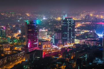 Night Kiev city center view, Kiev, Ukraine