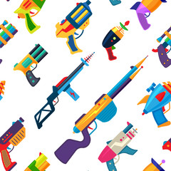 Cartoon gun vector toy blaster for kids game with handgun and raygun of aliens in space illustration set of child pistols and laser weapon seamless pattern background