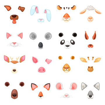 Animal mask vector animalistic masking face of wild characters bear wolf rabbit and cat or dog on masquerade illustration set of carnival masked costume tiger masquer isolated on white background