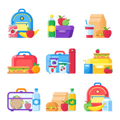 Kids school lunch box. Schoolkid meal bag for dinner. Red apple, milk snack dinners in children food boxes flat vector set