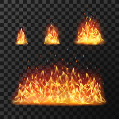 Burning fire flames or hot flaming blaze fireball. Blazing fires isolated vector set