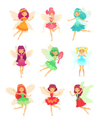 Cartoon fairy girls. Cute fairies dancing in colorful dresses. Magic flying little creatures characters with wings vector set