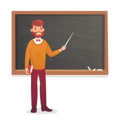 Chalkboard and professor. College or university teacher teach at blackboard. Academic teaching cartoon vector illustration