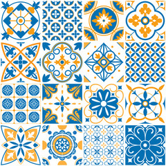 Mediterranean pattern. Decorative lisboa seamless patterns. Ornamental elements for portugal decor mosaic tiles vector set