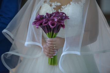 Caucasian bride wearing an opulent wedding dress with large tulle veil and holding a sophisticated plum calla lilies bridal bouquet, a perfect accessory for a regal and mysterious effect