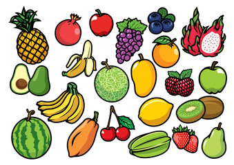 fruits set collection